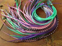 Turquoise Hair, Purple Hair, Pink Purple, Aqua, Feather Earrings, Feather Hair, Hair Feathers, Feather Extensions, Hair Extensions