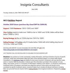 Mcx bulldex comdex metaldex gold silver reports tips calls