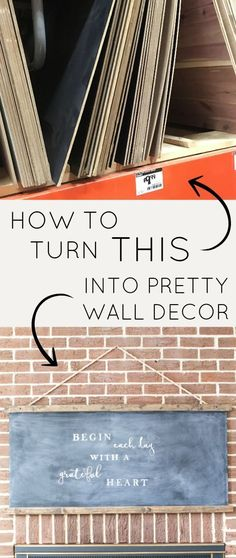 Did you know you can buy cheap sheets of prepainted MDF chalkboards at home improvement stores? Get the tutorial to make your own large DIY hanging schoolhouse style chalkboard perfect for modern farmhouse decor! Get the look on a budget!