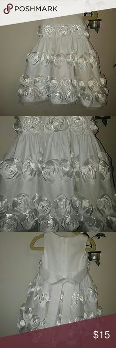Kids Baptism/Easter dress White dress with white floral accents (see 2nd pic for upclose view). Has white matching blomers to wear underneath. Used 1x. Excellent condition. Size is 18 months, yet it was hand sewn at shoulder to fit 12 month old. Bonnie Baby Dresses Formal