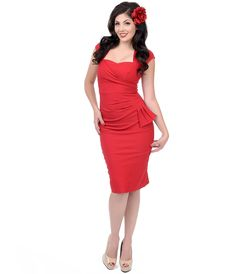 Wiggle Dresses, pencil dress, pinup dress  - Stop Staring! 1940s Style Red Fitted Uma Wiggle Dress $162.00