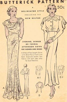 sovintagepatterns:  Perfect New Year's Dress! And the jacket! Butterick 5232 from the 1930s