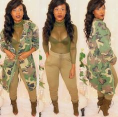 Camo coat and olive sheer bodysuit up now on the site 🍃 Army Jacket Outfits, Camo Jacket Women, Camo Outfits, Body Suit Outfits, Couple Outfits, Sexy Outfits, Fashion Outfits, Night Outfits, Summer Outfits
