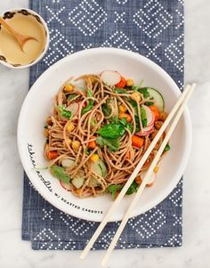 Tahini Noodles with Roasted Carrots & Chickpeas make a healthy and delicious make-ahead lunch or easy dinner! Stir together the bright tahini-peanut sauce and toss it over noodles, crisp roasted chickpeas and carrots, and crunchy veggies. Chickpea Recipes, Vegetarian Recipes, Healthy Recipes, Vegan Vegetarian, Carrot Recipes, Healthy Eats, Pasta Recipes, Dinner Recipes, Cooking Recipes