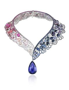 18k white gold, multi-colored sapphire & diamond necklace // chopard