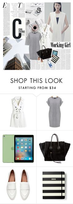 """""""Working Girl"""" by sissydoll ❤ liked on Polyvore featuring Cool Change, White House Black Market, CÉLINE, Kate Spade and plus size dresses"""