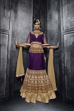 Purple Velvet Bridal Lehenga