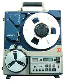 Portable type C one-inch video recorder that I used in the late 1970's at WFSU-TV.  Portable only because it had a handle.  The supply and take-up reels were stacked.  The camera was an RCA-TK-76.