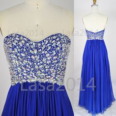 Royal Blue Prom Gown 2014 Prom Dress Strapless Crystal by LASA2014, $159.00