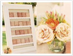 For this pastel Mexican inspired wedding, saltillo tiles with beautiful calligraphy led guests to their tables.  Design by Alchemy Fine Events  www.alchemyfineevents.com