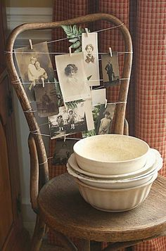 Antique chair photo display...good idea for a lamp shade