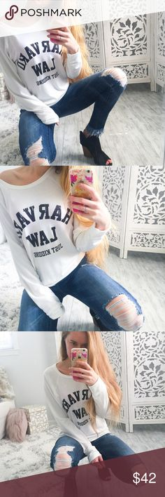 """Harvard Law Sweatshirt Ready for the ultimate conversation starter? Back to campus? Cute and ultra comfy, soft white sweatshirt with black lettering. Scoop neck. 36% cotton, 34% spun poly, 19% rayon, 11% polyester. True to size.   ▫️Add to Bundle"""" to add more items in my closet or """"Buy"""" to checkout here with your size.  ↓Follow me on Instagram ↓         @ love.jen.marie  📷YouTube: http://youtu.be/HyJJZVz3gUI   Please subscribe! Xoxo💕  👉🏻↓Etsy Design + Branding Shop↓…"""