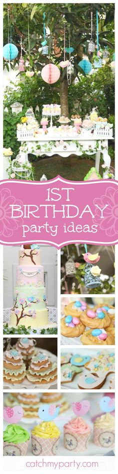 """Take a look at this pretty Little Bird 1st birthday garden party. The beautifully decorated birthday cake is amazing!! See more party ideas and share yours at <a href=""""http://CatchMyParty.com"""" rel=""""nofollow"""" target=""""_blank"""">CatchMyParty.com</a>"""