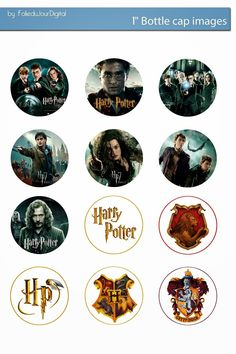 "Free Bottle Cap Images: Harry Potter free digital bottle cap images 1"" 1inch"