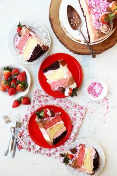 Chocolate-Dipped Strawberry Neapolitan Cake - The Candid Appetite
