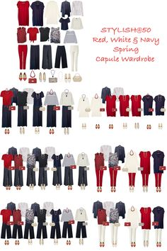 A spring capsule wardrobe of red, white and navy. 17 Items, 3 sets of accessories and well over 40 outfits. French Capsule Wardrobe, Wardrobe Basics, Work Wardrobe, Capsule Wardrobe Casual, 10 Item Wardrobe, Professional Wardrobe, Over 40 Outfits, Work Outfits, Spring Outfits