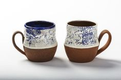 Maker Gina DeSantis is often inspired by nature, and we love the pretty blue hues on these red stoneware mugs. Coffee Lover Gifts, Coffee Lovers, Brown Interior, Stoneware Mugs, Large Flowers, Ceramic Artists, Ceramics, Tableware, Blue