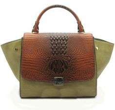 Green Leather Handbag – Brown Croc and Olive « Clothing Impulse