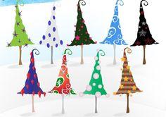 30 Sets of Free Christmas Tree Clip Art Vectors Whimsical Christmas Trees, Christmas Tree Clipart, Christmas Tree Painting, Christmas Icons, Xmas Tree, Christmas Themes, Christmas Crafts, Whoville Christmas, Christmas Decorations