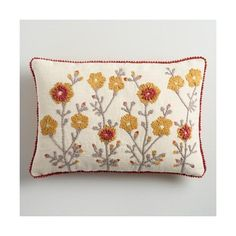 Cost Plus World Market Gold Garden Embroidered Lumbar Pillow ($15) ❤ liked on Polyvore featuring home, home decor, throw pillows, orange, embroidered throw pillows, cost plus world market, gold throw pillows, textured throw pillows and gold accent pillows
