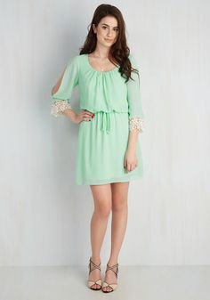 If there was a contest for first-place fashion, your bright mint dress would take you straight to the winner's circle. Bypassing trends and hype with a timeless gathered-waistline silhouette, sheer sleeves, and retro crocheted trim in an ivory hue, this breezy frock is the easiest way to your best look yet!