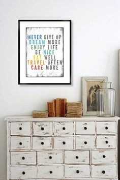 Never Give Up Framed Giclee Wall Art.....LOVE the furniture!!!