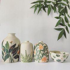 Botanical Ceramics by Ayesha Aggarwal – Ceramic Art, Ceramic Pottery Ceramic Clay, Ceramic Painting, Ceramic Vase, Ceramic Pottery, Slab Pottery, Ceramic Decor, Porcelain Ceramics, Pottery Vase, Pottery Wheel
