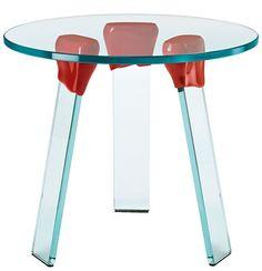 Scopri Tavolino d'appoggio Ceralacca -/ Ø 50cm, Trasparente / Rosso di FIAM, Made In Design Italia