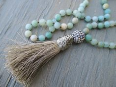 Long knotted tassel necklace 'Duster in Khaki' sky by slashKnots, $105.00