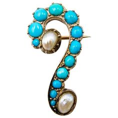 Shop diamond and pearl brooches and other antique and vintage brooches from the world's best jewelry dealers. Coral Turquoise, Turquoise Jewelry, Turquoise Bracelet, Question Mark, Pearl Brooch, Vintage Brooches, Antique Jewelry, Gemstone Rings, Bling