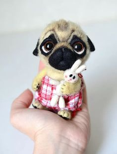 If you really are a pug lover . Little felt dog. Needle Felted Animals, Felt Animals, Needle Felting, Funny Pug Videos, Sweet Animal, Birthday Pug, For Elise, Pugs And Kisses, Pug Pictures