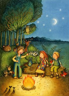 Campfire Story Children's Illustration by Emma Allen