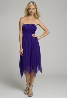 Homecoming and Prom Dresses - Strapless Hanky Hem Dress with Beaded Trim from Camille La Vie and Group USA