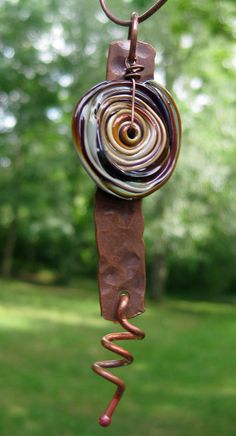 Etsy Transaction - Raku Glass Disc and Copper Necklace Handmade by Melissa Mesara
