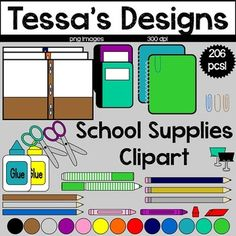 Schools Supplies Clipart Bundle