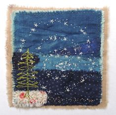 """""""The Swirl of Winter"""" by Handstories. Vintage Embroidery, Embroidery Applique, Embroidery Stitches, Embroidery Patterns, Sewing Art, Sewing Crafts, Fabric Art, Fabric Crafts, Boro"""
