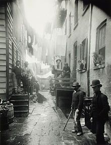Bandit's Roost (1890) by Jacob Riis, from the publication How the Other Half Lives: Studies among the Tenements of New York. This was considered the most crime-ridden, dangerous part of New York City at that time.