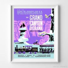 Vintage Disneyland Grand Canyon Diorama Print. Prices from $9.95. Available at InkistPrints.com - #disneyland#vintage#disney#babyroom#nurseryart#GrandCanyonDiorama