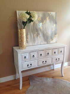 30x40 abstract art. White, gray, gold. High gloss finish. Jenn Meador Paint. jennmeadorpaint@gmail.com