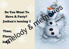 digital-download-disney-olaf-frozen-build-a-snowman-birthday-invitation-snow-customized-jpg-print-from-home-buttons-warm-hugs-anna-elsa-Olaf by AbushelandapecCrafts on Etsy