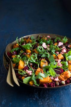This Beetroot, Butternut and Quinoa Salad is made with Rugani beetroot juice and is ideal for anytime of year, winter included! Pumpkin And Beetroot Salad, Beetroot And Feta Salad, Pumpkin Salad, Quinoa Salad Recipes, Healthy Recipes, Healthy Food, Banting Recipes, Veggie Recipes, Healthy Cooking