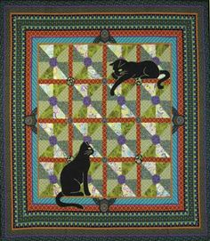 "= free pattern = Art Nouveau Cats quilt, 50 x 50"", free pattern by Marinda Stewart featured at Quilt Inspiration"