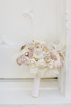 Fabric + Brooch Bouquet |   Photography: Red Fly Studio