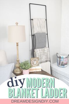 This modern industrial blanket ladder is perfect for a corner of a living or family room and would also work in a bathroom for storing towels. Make this easy DIY blanket ladder for a stylish way to store your blankets. #DIY #blanketladder Diy Home Crafts, Easy Diy Crafts, Fun Diy, Diy Blanket Ladder, Diy Home Decor Bedroom, Storing Towels, Modern Industrial, Decoration, Home Projects