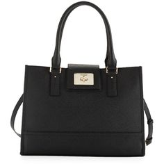 Cole Haan Daphne Saffiano Leather Tote Bag ($189) ❤ liked on Polyvore featuring bags, handbags, tote bags, black, cole haan purses, zip tote bag, saffiano leather tote, tote handbags and clasp purse