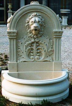 wall fountain in italian limestone - design by Garden Ornaments Stone srl - www.gardenorn.com