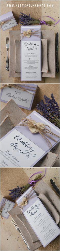 Rustic Lavender Wedding Menu #lavender #rustic #menu #weddingideas #weddingstationery #provence #shadesofpurple