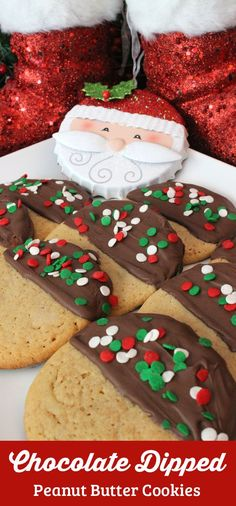 Our Chocolate Dipped Peanut Butter Christmas Cookies are super delicious, very easy to make and make a great Holiday Cookie. This yummy Christmas Dessert would also be a big hit at a Christmas Cookie Exchange. Follow us for more great Christmas Food ideas.