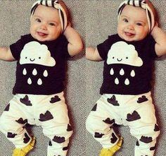 2pcs Newborn Toddler Baby Boys Girls Cloud Clothes T-shirt Tops+Pants Summer Outfit Set - 18-24M: Amazon.ca: Baby