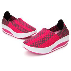 Women's Stretch Casual Breathable Knit Shook Shoes Sneakers - US$16.99